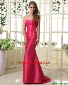 2016 Modest Mermaid Strapless Pageant Dresses with Brush Train