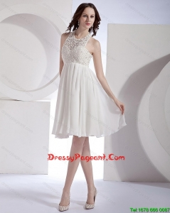 2016 Popular Empire Halter Top Beaded Pageant Dresses in White