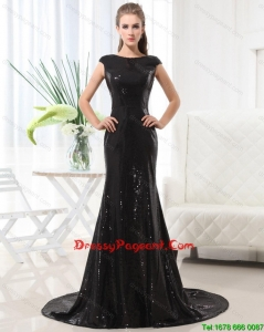 Beautiful Column Bateau Brush Train Sequins Pageant Dresses in Black