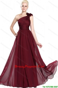 Beautiful Ruched Burgundy Pageant Gowns with One Shoulder