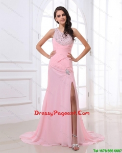 Cheap Column Brush Train Pageant Dresses with High Slit and Beading