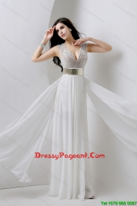 Classical Empire V Neck White Pageant Dresses with Beading and Belt