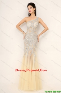 Elegant Champagne One Shoulder Pageant Dresses with Side Zipper