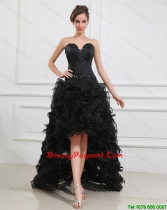 Gorgeous High Low Black Pageant Gowns with Beading and Ruffles