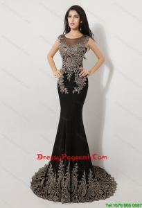 Gorgeous Mermaid Appliques and Beaded Pageant Dresses in Black