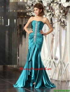Luxurious Mermaid Brush Train Beaded Pageant Dresses in Teal