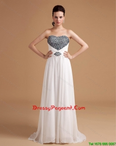 New Arrival Sweep Train Beading Pageant Dresses in White