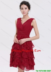 Simple V Neck Ruffles Short Prom Pageant in Burgundy