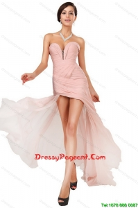 Luxurious Side Zipper Ruched Pageant Dresses with Asymmetrical