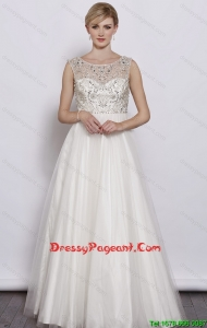 Beautiful A Line Scoop White Pageant Dresses with Beading