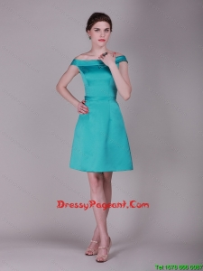 Elegant Off the Shoulder Belt Short Pageant Dresses in Turquoise