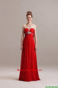 Romantic Spaghetti Straps Red Long Pageant Dresses with Beading for 2016