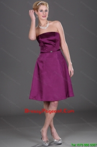 Top Strapless Eggplant Purple Pageant Dresses with Belt