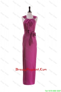 Cheap Straps Long Pageant Dresses with Beading and Bowknot