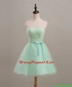 Cheap Ruching and Belt Apple Green Short Pageant Dresses for 2016