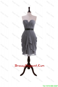 Simple Column Sweetheart Pageant Dresses with Belt in Grey