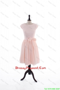 2016 Spring A Line Scoop Pageant Dresses with Bowknot in Baby Pink