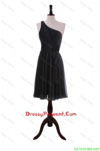 Discount One Shoulder Black Short Pageant Dresses