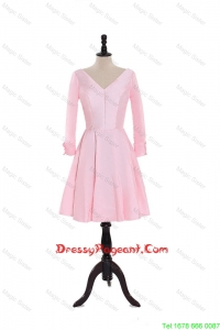 Custom Made A Line V Neck 3/4 Length Sleeve Pageant Dresses in Baby Pink