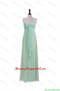 Gorgeous Halter Top Mint Long Ruching Pageant Dresses for 2016 Summer
