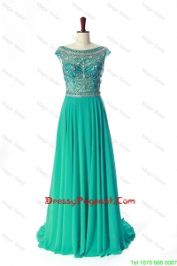 New Style Bateau Beading Brush Train Pageant Dress in Turquoise
