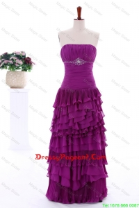 2016 Winter Popular Empire Strapless Beaded Pageant Dresses with Ruffled Layers