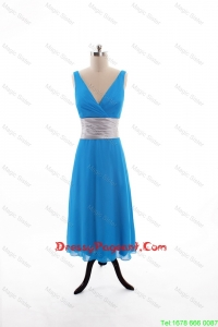 2016 Spring Empire V Neck Tea Length Pageant Dresses with Belt