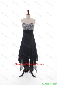 Custom Made Empire Strapless Beaded High Low Pageant Dresses in Black
