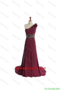 Gorgeous One Shoulder Burgundy Pageant Dress with Beading and Belt