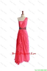 Luxurious Appliques and Ruching Pageant Dresses in Coral Red for 2016