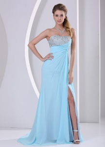 High-slit Chiffon Beaded Pageant Dress with Sweetheart in Baby Blue