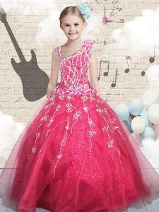 Luxurious Red Ball Gowns Appliques High School Pageant Dress Lace Up Tulle Sleeveless Floor Length