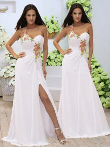 Sleeveless Floor Length Appliques and Ruching Zipper Pageant Dress for Womens with White
