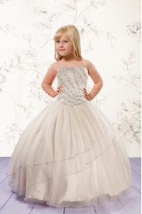 Charming Strapless Sleeveless Flower Girl Dresses for Less Floor Length Beading Champagne Tulle