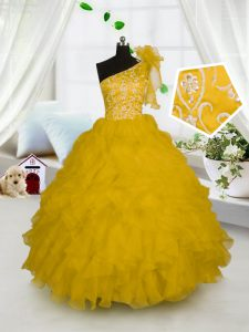 One Shoulder Sleeveless Embroidery and Ruffles Side Zipper Toddler Flower Girl Dress