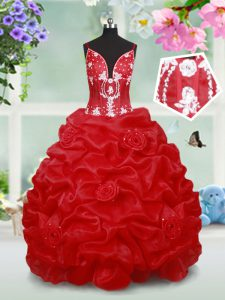 Affordable Red Ball Gowns Organza Spaghetti Straps Sleeveless Beading and Pick Ups and Hand Made Flower Floor Length Lace Up Pageant Dress Toddler