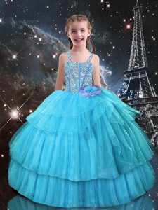 Organza Straps Sleeveless Lace Up Beading and Ruffled Layers Pageant Gowns For Girls in Aqua Blue