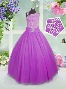 Super Floor Length Lilac Little Girls Pageant Dress Asymmetric Sleeveless Lace Up