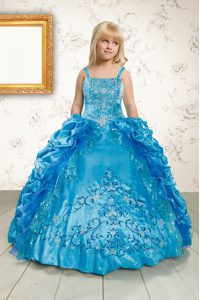 Affordable Pick Ups Floor Length Ball Gowns Sleeveless Turquoise Winning Pageant Gowns Lace Up