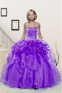 Lavender Organza Lace Up Pageant Dress Womens Sleeveless Floor Length Beading and Pick Ups