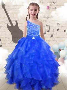 One Shoulder Sleeveless Organza Pageant Gowns Beading and Ruffles Lace Up
