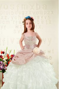 Perfect Peach Little Girls Pageant Dress Military Ball and Sweet 16 and Quinceanera with Beading and Ruffled Layers and Hand Made Flower Straps Sleeveless Lace Up