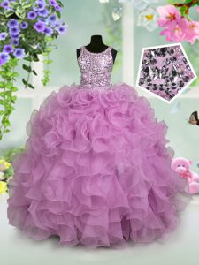 Adorable Scoop Sleeveless High School Pageant Dress Floor Length Ruffles and Sequins Lilac Organza