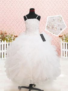 Organza Sleeveless Floor Length Pageant Dress Wholesale and Beading and Lace and Ruffles