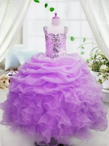 Most Popular Rose Pink Ball Gowns Beading and Ruffles and Pick Ups Little Girl Pageant Gowns Zipper Organza Sleeveless Floor Length