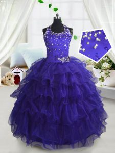 Ruffled Scoop Sleeveless Lace Up Little Girl Pageant Dress Navy Blue Organza