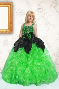Pick Ups Ball Gowns Pageant Dresses Green Straps Organza Sleeveless Floor Length Lace Up