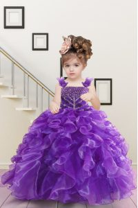 Popular Floor Length Ball Gowns Sleeveless Purple Little Girls Pageant Dress Lace Up
