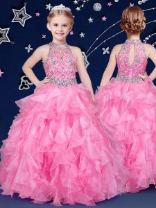 Halter Top Sleeveless Organza Pageant Dress for Teens Beading and Ruffles Zipper