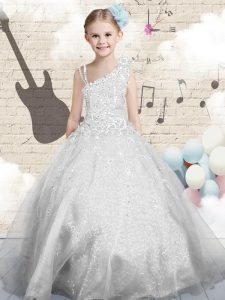 Ball Gowns Pageant Dress for Girls Silver Asymmetric Organza Sleeveless Floor Length Lace Up